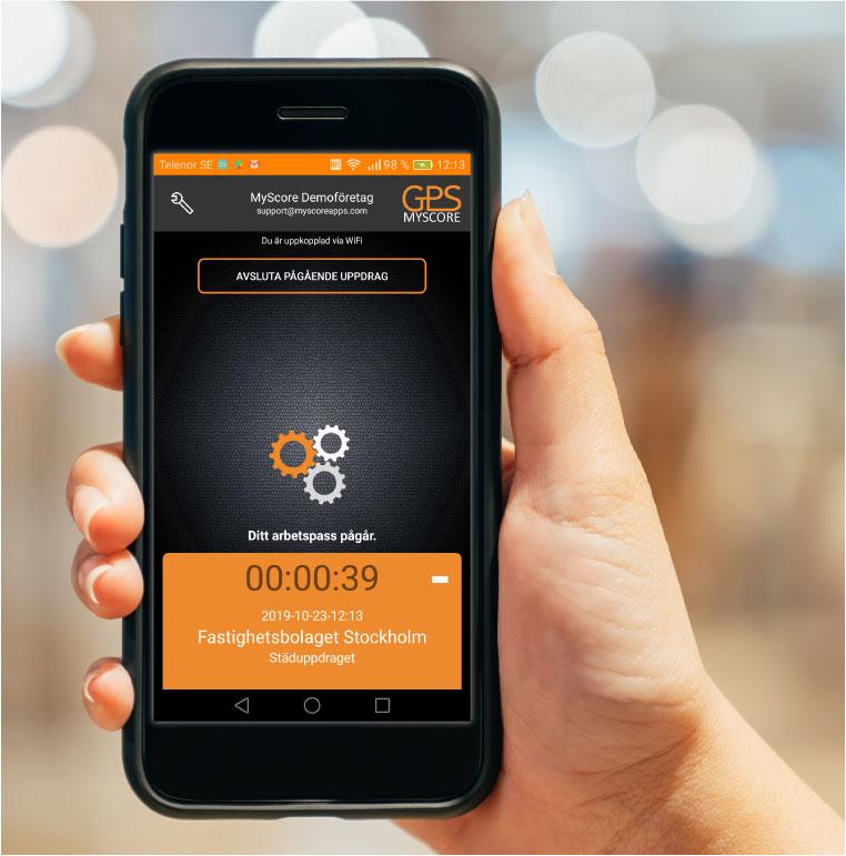 MyScore Närvaro GPS Klicka och logga in, din arbetstid visas direkt på skrämen.