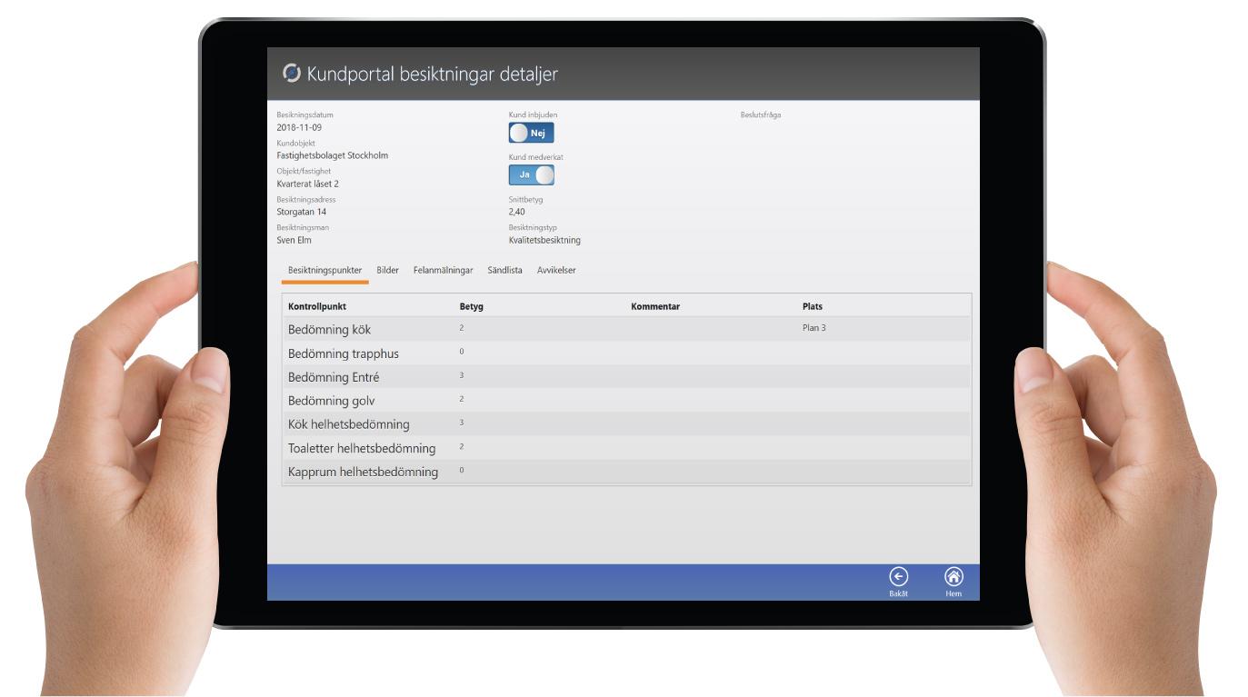 MyScore Kundportal - Besiktningar / Egenkontroller